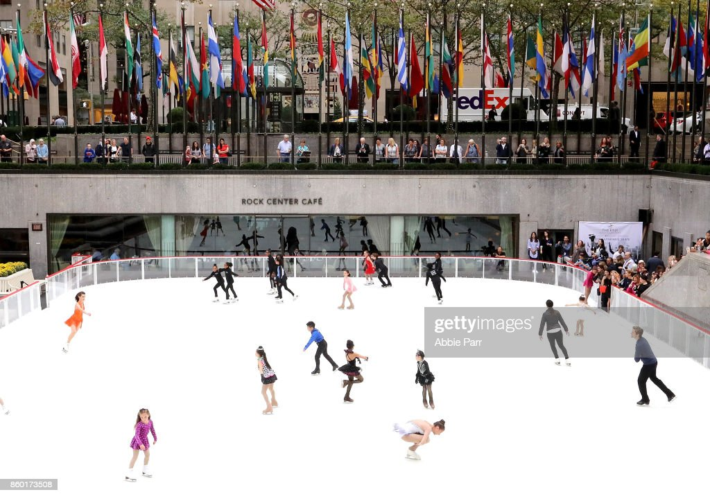 Olympic Gold Medalists Meryl Davis and Charlie White enjoy the season's first skate at The Rink at Rockefeller Center on October 11, 2017 in New York City.