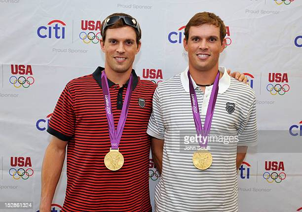 Olympic Gold Medalists Mike and Bob Bryan celebrate Citi's Team USA Sponsorship at a Citibank branch on September 27 2012 in Diamond Bar California