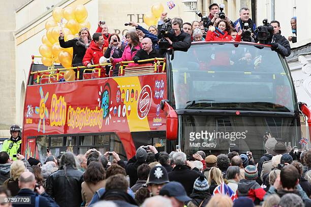 Olympic gold medallist Amy Williams takes a open top bus tour around her home city on March 3 2010 in Bath England The 27yearold is the first...
