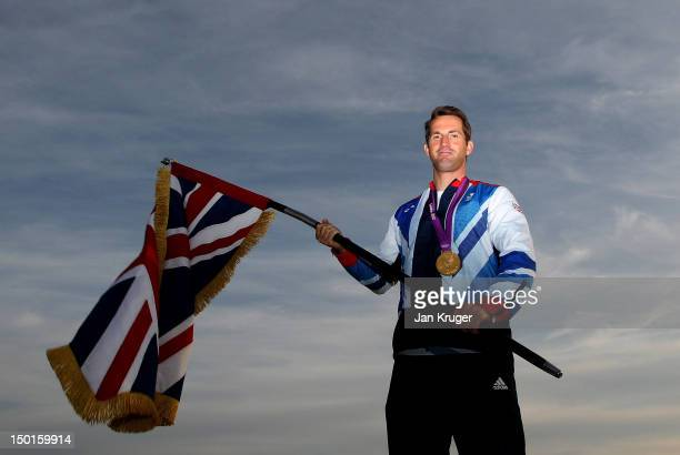 Olympic Gold medallist Ben Ainslie poses at Team GB House after he was announced as Team GB Olympic London 2012 closing ceremony flag bearer on...