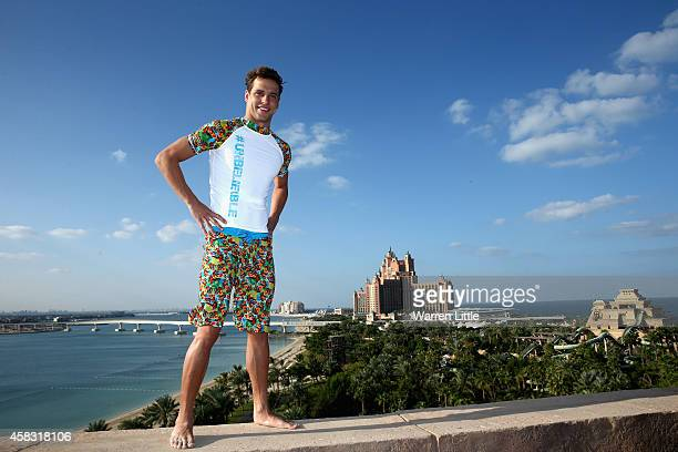 Olympic gold medallist Chad Le Clos of South Africa poses for a picture at Atlantis The Palm Dubai shortly after being crowned the 2014 FINA World...