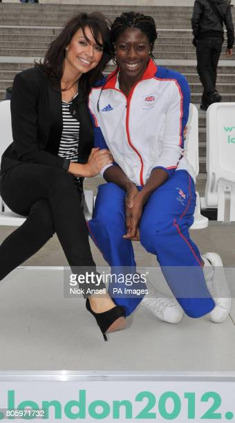Olympic gold medallist Christine Ohuruogo with television presenter Christine Bleakley at the launch of the 2012 Olympics ticket website in Trafalgar...