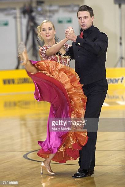 Olympic Gold Medallist Danyon Loader with his dance partner Hayley Holt dance at half time during the round 12 NBL match between the Wellington...