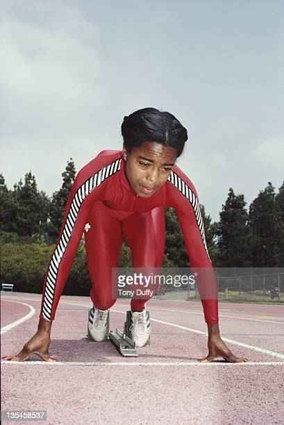 Olympic Gold medallist Evelyn Ashford of the United States in training on 1st March 1981 in Los Angeles California United States
