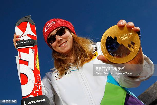 Olympic gold medallist Mikaela Shiffrin of the USA during a photo shoot with the US Ski Team Olympic alpine ski medalists on March 13 2014 in...