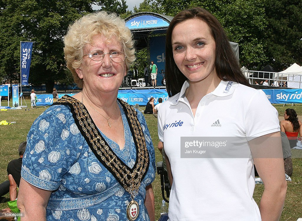 Olympic Gold Medallist, Victoria Pendleton poses for a photo with Mayor of Southampton, Councillor Carol Cunio during SkyRide Southampton, on July 25, 2010 in Southampton, England. Thousands of participants enjoyed the city's finest sights on traffic-free streets as they took part in SkyRide Southampton, a free, fun family orientated traffic-free mass participation cycling event.