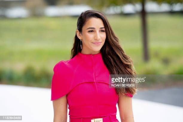 Olympic gymnast Ali Raisman leaves an event launching Apple tv+ at Apple headquarters on March 25 in Cupertino, California.
