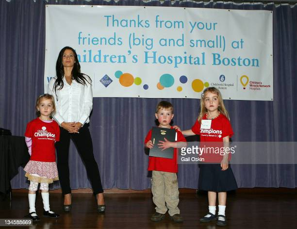 Olympic gymnast Alicia Sacramone celebrates Walmart and Sam's Club and visits Sara Caleb and Emily at Children's Hospital Boston on April 12 2011 in...