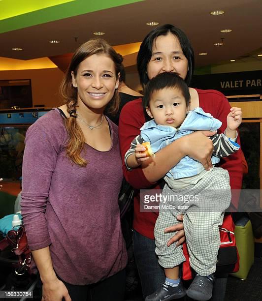 Olympic Gymnast Alicia Sacramone stops by to visit JhenChi and Mom at Boston Children's Hospital on November 13 2012 in Boston Massachusetts