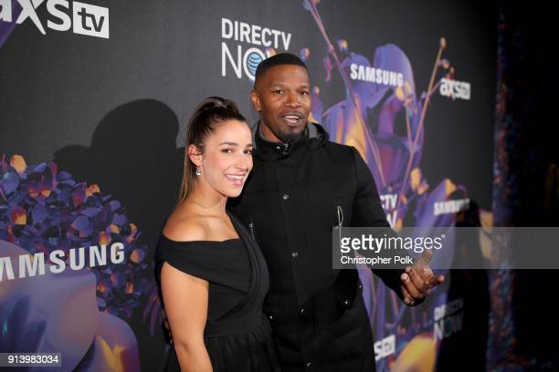 Olympic gymnast Aly Raisman and actor Jamie Foxx attend the 2018 DIRECTV NOW Super Saturday Night Concert at NOMADIC LIVE at The Armory on February 3...