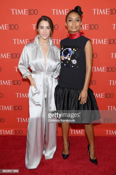 Olympic gymnast Aly Raisman and actor Yara Shahidi attend the 2018 Time 100 Gala at Jazz at Lincoln Center on April 24 2018 in New York City