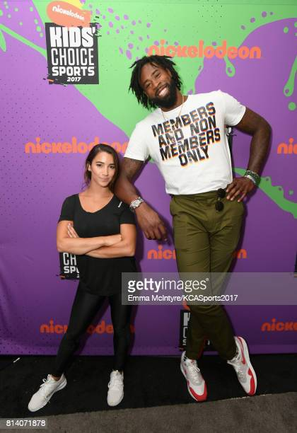 Olympic gymnast Aly Raisman and NBA player DeAndre Jordan attend Nickelodeon Kids' Choice Sports Awards 2017 at Pauley Pavilion on July 13 2017 in...