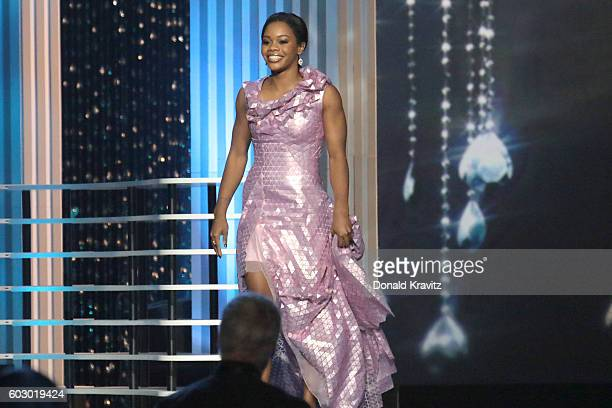 Olympic gymnast Gabby Douglas appears onstage during the 2017 Miss America Competition at Boardwalk Hall Arena on September 11, 2016 in Atlantic...
