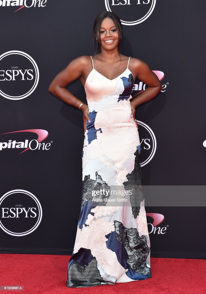 Olympic gymnast Gabby Douglas arrives at the 2017 ESPYS at Microsoft Theater on July 12, 2017 in Los Angeles, California.