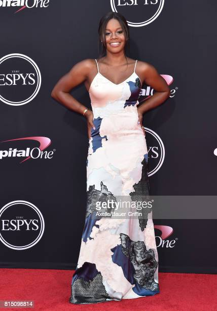 Olympic gymnast Gabby Douglas arrives at the 2017 ESPYS at Microsoft Theater on July 12 2017 in Los Angeles California