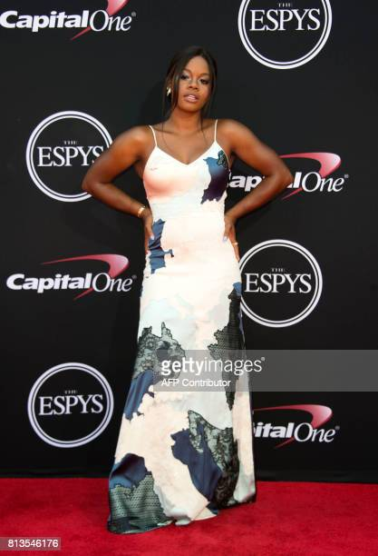 Olympic gymnast Gabby Douglas attends the 25th ESPYS at the Microsoft Theater on July 12 2017 in Los Angeles California / AFP PHOTO / VALERIE MACON