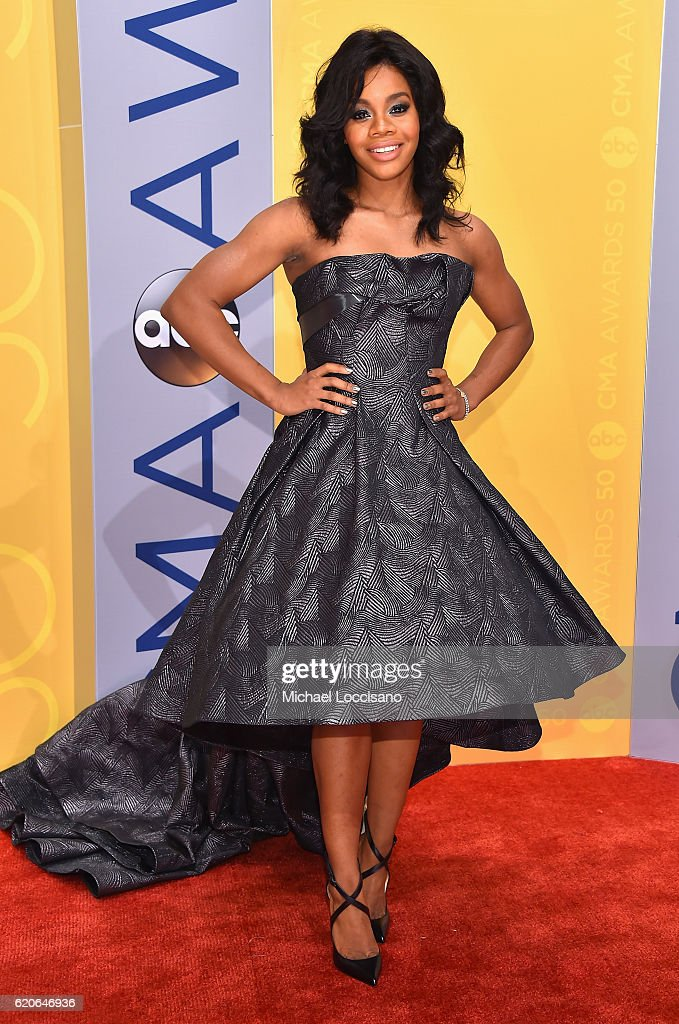 Olympic gymnast Gabby Douglas attends the 50th annual CMA Awards at the Bridgestone Arena on November 2, 2016 in Nashville, Tennessee.