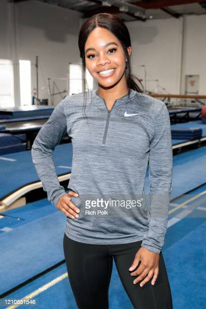 """Olympic gymnast Gabby Douglas teaches Jay Pharoah gymnastics on the IMDb Series """"Special Skills"""" in Los Angeles California This episode of """"Special..."""