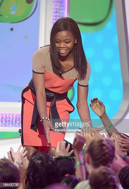 Olympic gymnast Gabby Douglas walks onstage during Nickelodeon's 26th Annual Kids' Choice Awards at USC Galen Center on March 23 2013 in Los Angeles...