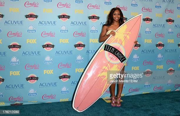 Olympic gymnast Gabby Douglas winner of Choice Female Athlete award attends the Teen Choice Awards 2013 at Gibson Amphitheatre on August 11 2013 in...