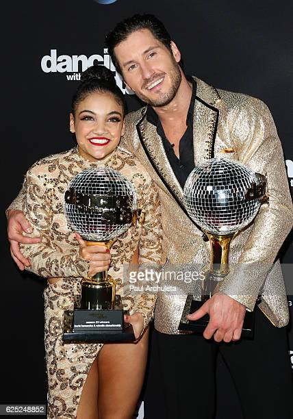 Olympic Gymnast Laurie Hernandez and TV Personality / Dancer Valentin Chmerkovskiy attend ABC's Dancing With The Stars season 23 finale at The Grove...