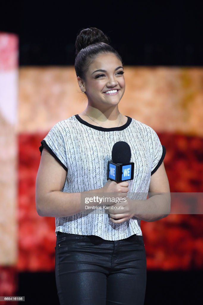 Olympic gymnast Laurie Hernandez speaks on stage during WE Day New York Welcome to celebrate young people changing the world at Radio City Music Hall on April 6, 2017 in New York City.