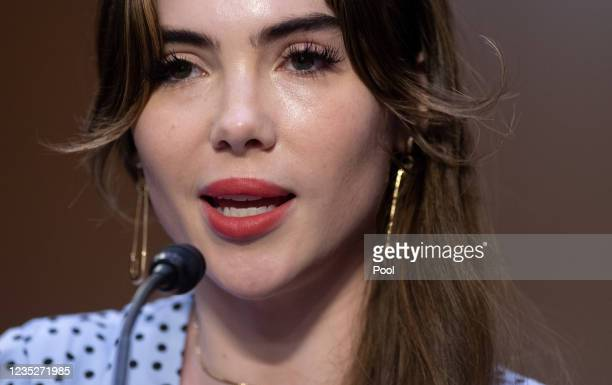 Olympic gymnast McKayla Maroney testifies during a Senate Judiciary hearing about the Inspector General's report on the FBI handling of the Larry...