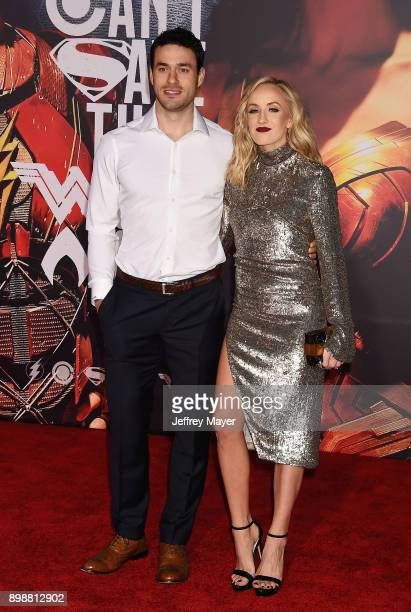 Olympic gymnast Nastia Liukin and husband Matt Lombardi arrive at the Premiere Of Warner Bros Pictures' 'Justice League' at the Dolby Theatre on...