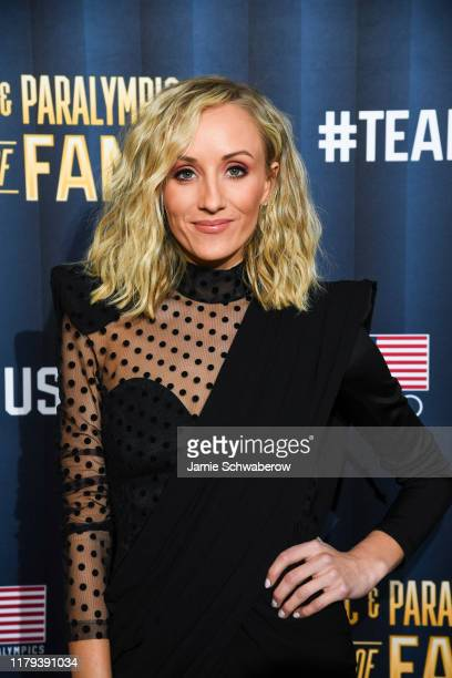 Olympic gymnast Nastia Liukin poses on the red carpet before the US Olympic Hall of Fame Class of 2019 Induction Ceremony on November 1 2019 in...