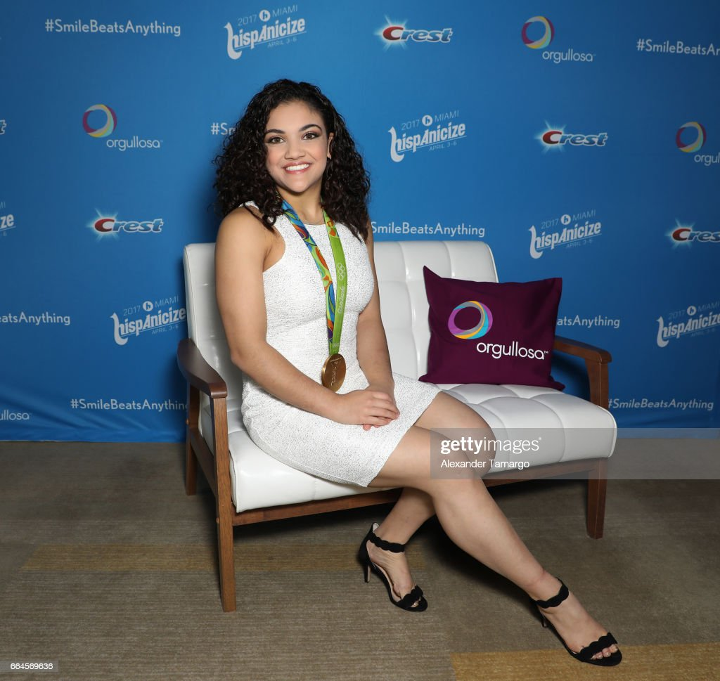 U.S. Olympic gymnastics champion and season 23 'Dancing With the Stars' winner Laurie Hernandez poses during a press conference to unveil first-ever Crest TV commercial on April 4, 2017 in Miami, Florida.