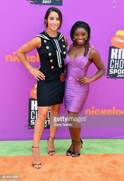 Olympic gymnasts Aly Raisman and Simone Biles attend Nickelodeon Kids' Choice Sports Awards 2017 at Pauley Pavilion on July 13, 2017 in Los Angeles,...