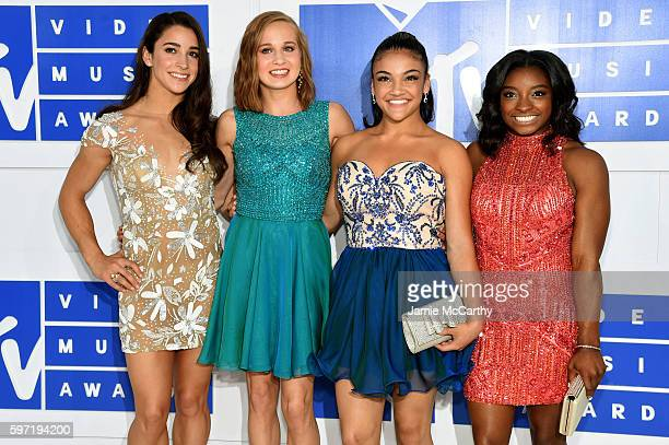 Olympic gymnasts Aly Raisman Madison Kocian Laurie Hernandez and Simone Biles attend the 2016 MTV Video Music Awards at Madison Square Garden on...