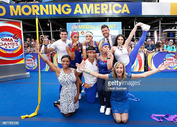 AMERICA Olympic Gymnasts Dominique Dawes and Mckayla Maroney are guests on 'Good Morning America' 8/9/16 airing on the ABC Television Network GIO