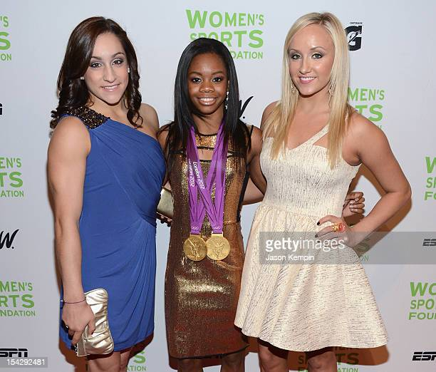 Olympic gymnasts Jordyn Wieber Gabrielle Douglas and Anastasia 'Nastia' Liukin attend the 33rd Annual Salute To Women In Sports Gala at Cipriani Wall...