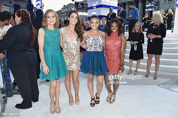 Olympic gymnasts Madison Kocian Aly Raisman Laurie Hernandez and Simone Biles attend the 2016 MTV Video Music Awards on August 28 2016 in New York...