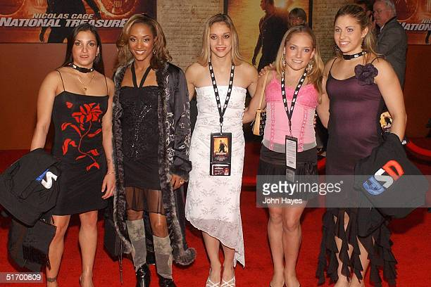 Olympic gymnasts Mohini Bhardwaj Annia Hatch Terin Humphrey Courtney McCool and Courtney Kupets arrive at the Disney Premiere Of National Treasure at...