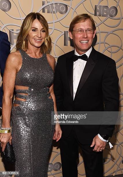 Olympic gymnasts Nadia Comaneci and Bart Conner arrive at HBO's Official Golden Globe Awards After Party at Circa 55 Restaurant on January 8, 2017 in...