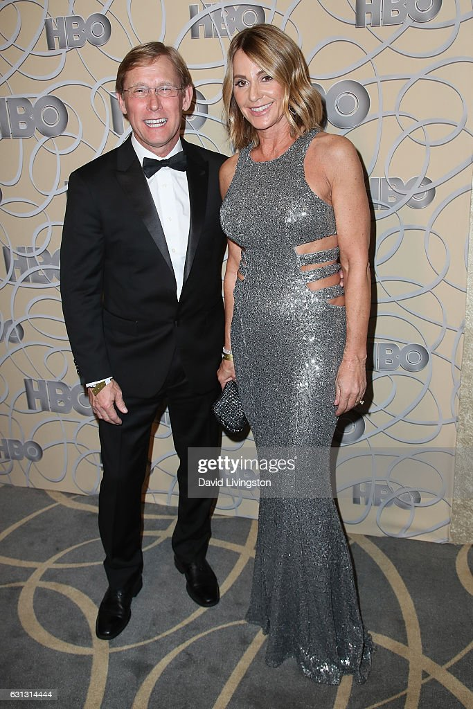 Olympic gymnasts Nadia Comaneci (R) and Bart Conner arrive at HBO's Official Golden Globe Awards after party at the Circa 55 Restaurant on January 8, 2017 in Los Angeles, California.