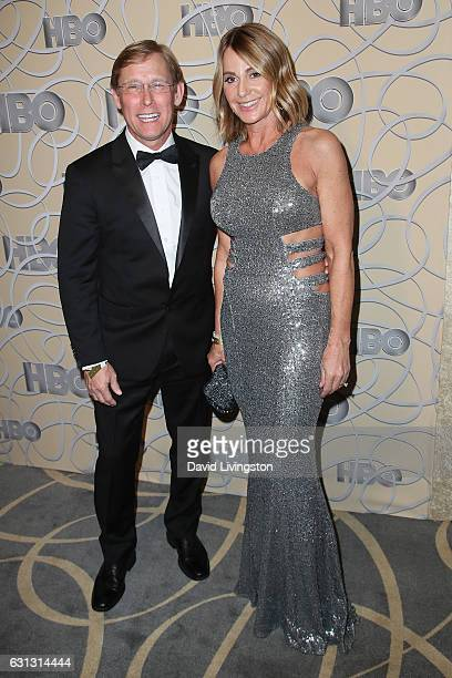 Olympic gymnasts Nadia Comaneci and Bart Conner arrive at HBO's Official Golden Globe Awards after party at the Circa 55 Restaurant on January 8,...