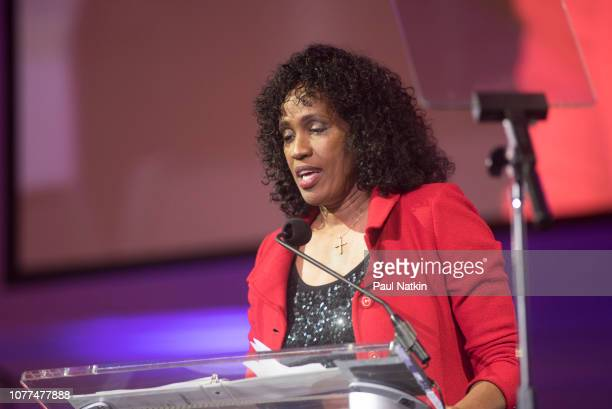 Olympic hero Jackie Joyner-Kersee speaks at the Illinois Bicentennial party at Navy Pier in Chicago, Illinois, December 3, 2018. The state of...