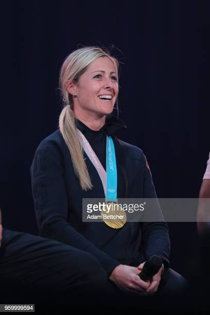 Olympic Hockey gold medalist GiGi Marvin speaks to the crowd at Pulse Twin Cities at US Bank Stadium on May 18 2018 in Minneapolis Minnesota