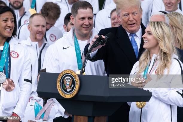 Olympic hockey player Amanda Kessel speaks at US President Donald Trump's celebration for Team USA at the North Portico of the White House in...