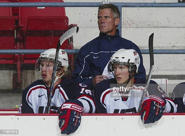 Olympic hockey player John Harrington of the US coaches during USA Hockey's National Junior Evaluation Camp on August 12 2006 at Herb Brooks Arena in...