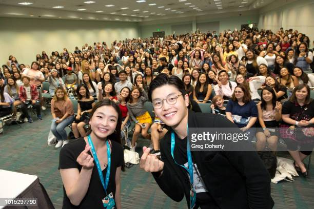 Olympic Ice Dancers Maia Shibutani and Alex Shibutani attend the KCON 2018 LA meet greet at Los Angeles Convention Center on August 11 2018 in Los...