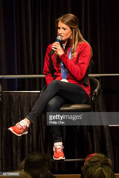 Olympic ice hockey gold medalist Hayley Wickenheiser attends the Canadian TIre Home Auto and Outdoor Show at the Vancouver Convention Centre on April...