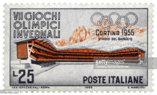 Olympic Ice Stadium Postage stamp from the series dedicated by the Italian Post Office to the 7th Winter Olympic Games held in Cortina D'Ampezzo from...