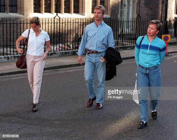 Olympic iceskating gold medalists Jayne Torville and Christopher Dean at St James's Palace with Christopher's wife Jill to pay tribute to Diana...