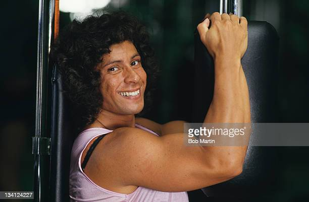 Olympic javelin medallist Fatima Whitbread of Great Britain poses during photo session on 1st May 1988 in London United Kingdom