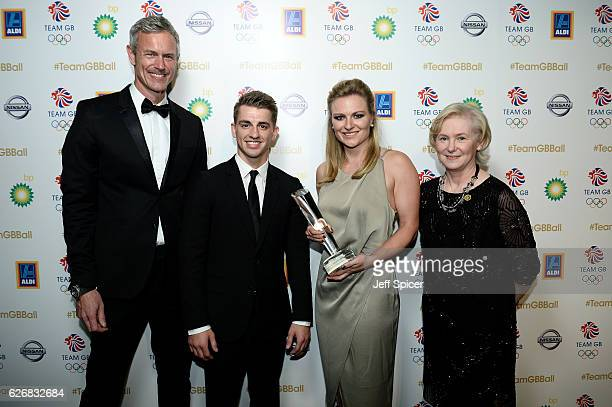 Olympic legend and BBC Presenter Mark Foster and director of BBC Sport Barbara Slater pose with winners of the BBC Moment of the Games Award Max...