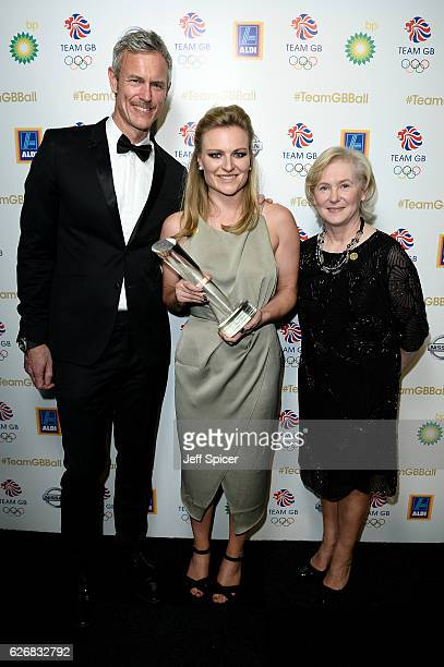 Olympic legend and BBC Presenter Mark Foster and director of BBC Sport Barbara Slater pose with the winner of the BBC Moment of the Games Award...